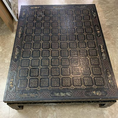 Chinese black lacquer square coffee table, carved &