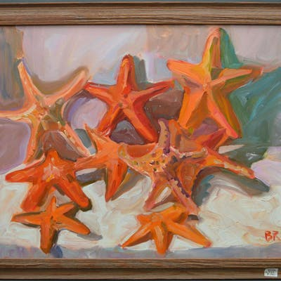 Original Oil on canvas, Starfish in driftwood frame