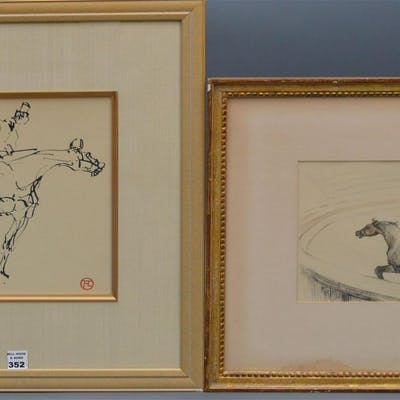 Toulouse Lautrec (French) 2 horse & rider Lithographs
