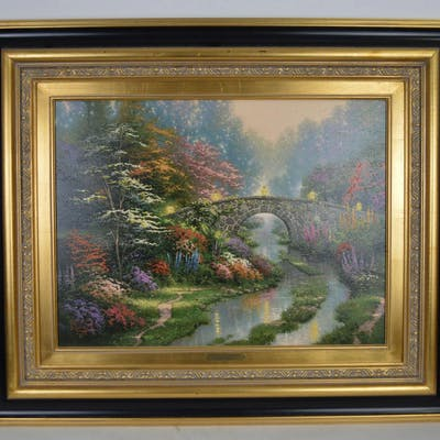 "Thomas Kinkade Lithograph On Canvas ""Still Water"