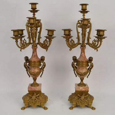 PAIR 7 LIGHT FIGURAL BRONZE & MARBLE CANDELABRA.