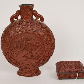 2 Pieces Chinese Carved Cinnabar. 1 Moon Flask Vase