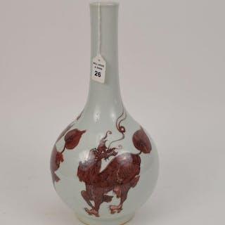 Chinese Porcelain Vase With Red Mythological Dragon