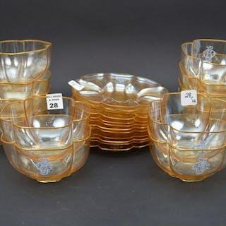 12 Baccarat Enameled & Gilt Glass Bowls & Underplates.