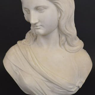 "Marble female bust, 1867 Robert Physick, 20""h x 13""w"