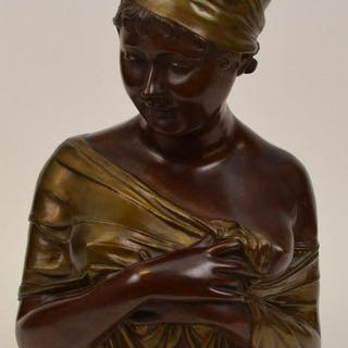 Bronze female bust, draped shawl, impressed Houton