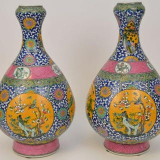 Pair Chinese vases, multi-color floral panels surround