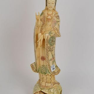 CARVED BONE QUAN YIN FIGURE.  Condition: no issues