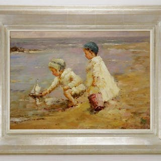 M. P. Rousseau, beach scene, oil on board, signed lower