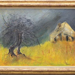 Signed Hoskins, 20th Century Landscape Tree and House