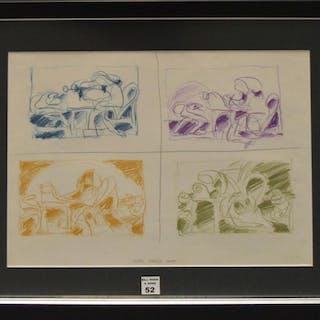 Roberto Matta (Chilean 1911-2002) Colored Pen/Crayon