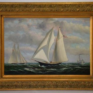 D Taylor Signed oil on canvas, Yacht Racing Scene, 24 x
