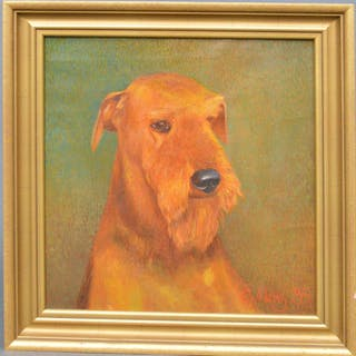 Original Dog Painting, signed and dated 1995, 15-1/2 x