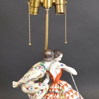 Claire Volkhart 1913 Ceramic figural lamp, Deco