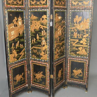 Oriental screen, 19th c. 4 hand painted panels on