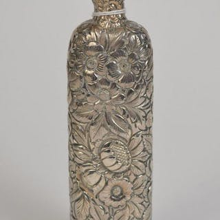 """Repousse scent bottle, sterling, Geo. W. Biggs, 6 1/4""""h"""