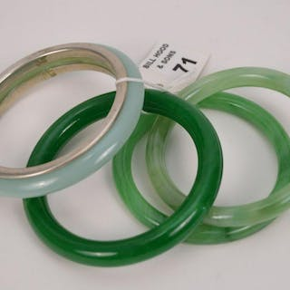 4 assorted colored jade bangle bracelets