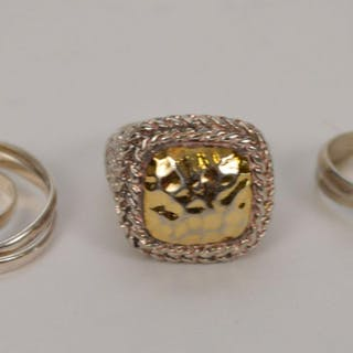 3 sterling rings, all marked 925, two triple bands