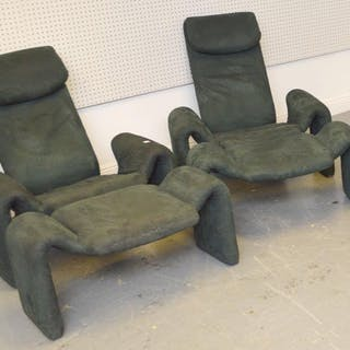 Pair Oliver Mourgue  Chairs & Ottomans for Bouloum.