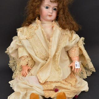 French doll, bisque head, composition jointed, blue