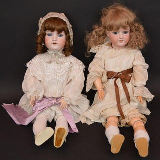2 German bisque head dolls, impressed Made in Germany
