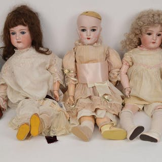 5 German dolls, (1) bisque head doll impressed Queen