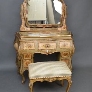 Venetian polychrome decorated dressing table, Louis XV