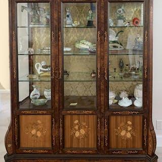 Italian mahogany marquetry style cabinet with 3 long