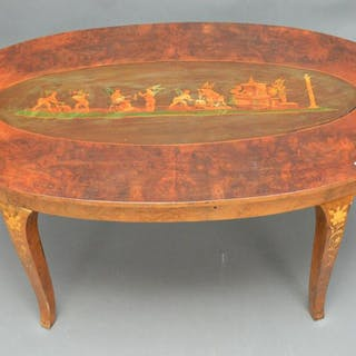 Oval Burled coffee table, Italian inlay style
