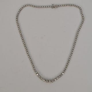 14K WHITE GOLD 8CT DIAMOND NECKLACE. 119 Round