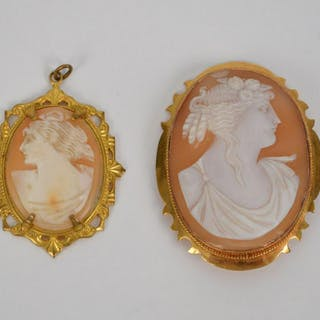 2 ANTIQUE CAMEO PENDANTS SET IN 10k GOLD. Larger 2 1/4""