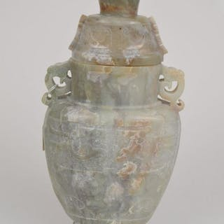 CHINESE CARVED JADE COVERED URN WITH CARED FIGURAL