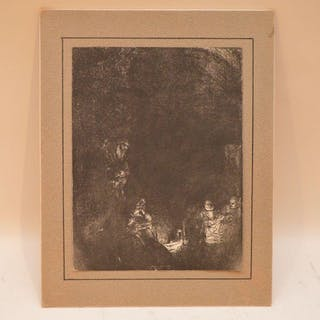"Rembrandt etching, ""The Entombment"", size 8 x 6 inches"