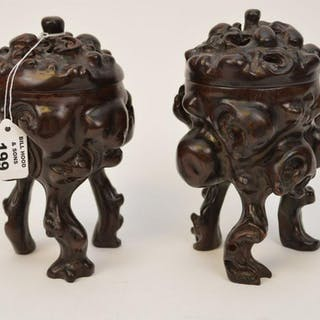 """Pair Root style lacquered wood covered potpourri, 7""""h x"""
