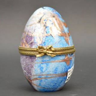Art Glass hinged egg, signed Gyune, France, blue &