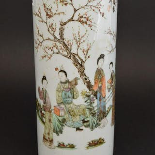 Chinese cylindrical vase, chop marks at top, painted