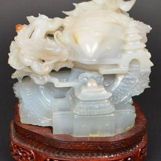 Chinese Carved jade two tone sculpture on wood stand