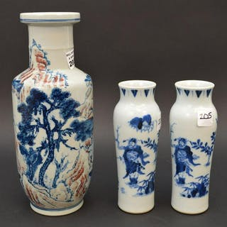 Chinese Porcelain Vase, blue and red landscape on white