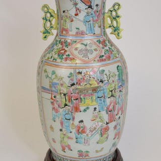 Chinese Famille Rose Porcelain Vase with yellow pierced