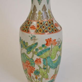 Chinese vase with birds and Flora design, shades of