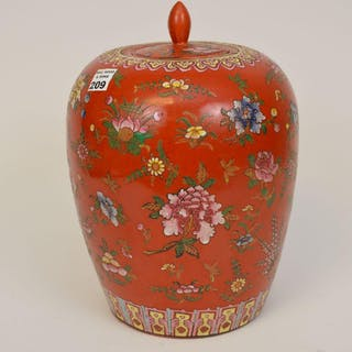 Chinese jar with lid, floral design on iron red/orange