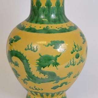 Large Chinese Porcelain Vase with green dragon and
