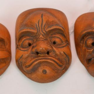 "Carved wood Mask Netsuke, 3 separate masks, 1"" each"