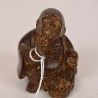 """Asian carved Netsuke Elder, 1 1/2""""h"""