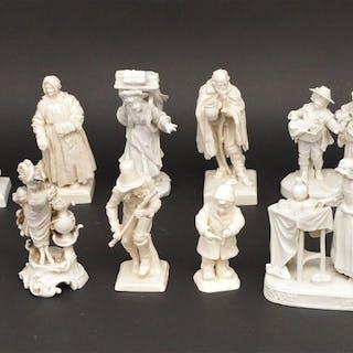 Collection of 15 assorted Capo Di Monte glazed blanc de