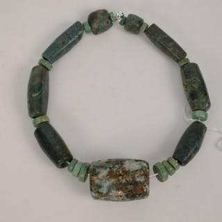 Carved Pre-Columbian Costa Rican Blue Jade Necklace