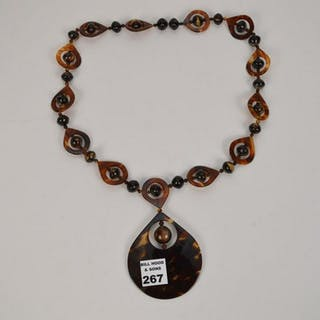 "Victorian Tortoise Necklace with Pendant  28"" Pendant"