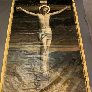 "Large 19th Century Christ Oil Painting 8'10"" x 5'9"""