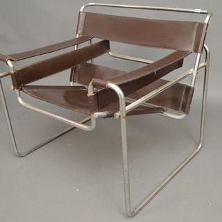 Wassily style brown & chrome modern chair