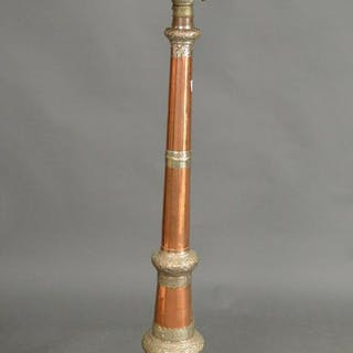 Trumpet form Middle Eastern style copper and silver